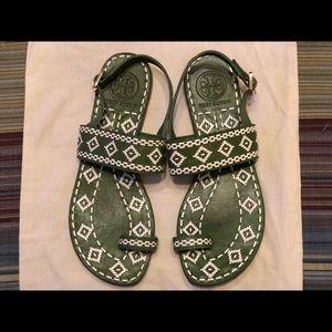 Tory Burch Green/White Sandals
